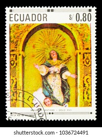 MOSCOW, RUSSIA - NOVEMBER 26, 2017: A stamp printed in Ecuador shows Assumption of Holy Virgin, Christian paintings and sculptures by local artists serie, circa 1968