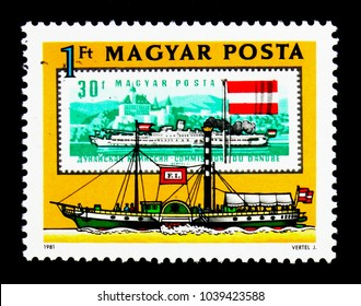 "MOSCOW, RUSSIA - NOVEMBER 26, 2017: A stamp printed in Hungary shows Paddlesteamer ""Franz I"" (1830), Danube Commission serie, circa 1981"
