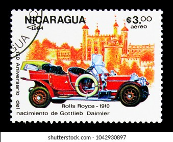 MOSCOW, RUSSIA - NOVEMBER 26, 2017: A stamp printed in Nicaragua shows Rolls Royce - 1910, 150th Anniversary of the Birth of Gottlieb Daimler serie, circa 1974