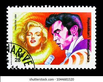 MOSCOW, RUSSIA - NOVEMBER 26, 2017: A stamp printed in Madagascar shows Marilyn Monroe, Elvis Presley, Philakorea '94 serie, circa 1994