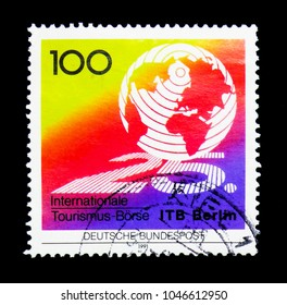 MOSCOW, RUSSIA - NOVEMBER 26, 2017: A stamp printed in Federal Republic of Germany shows International Tourism Fair Berlin, serie, circa 1991
