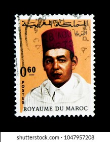 MOSCOW, RUSSIA - NOVEMBER 26, 2017: A stamp printed in Morocco shows King Hassan II (1929-1999), serie, circa 1968