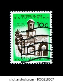 MOSCOW, RUSSIA - NOVEMBER 26, 2017: A stamp printed in South Africa shows Cape Town, castle entrance, Definitive Issue - Decimal Issue serie, circa 1973