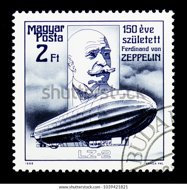 MOSCOW, RUSSIA - NOVEMBER 26, 2017: A stamp printed in Hungary shows Lz-2, Zeppelin serie, circa 1988