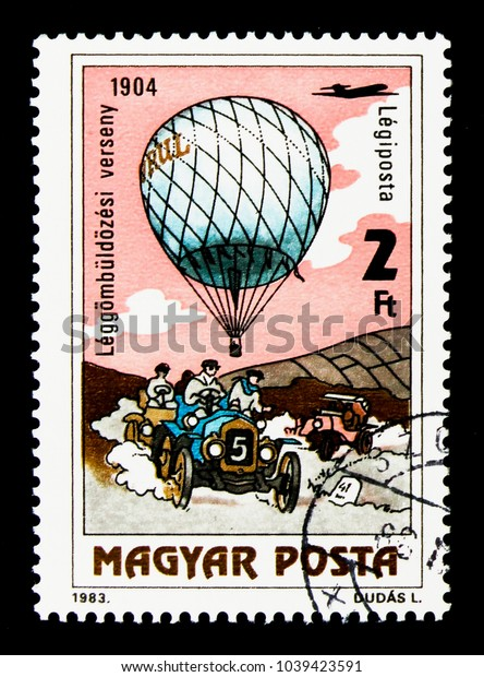 MOSCOW, RUSSIA - NOVEMBER 26, 2017: A stamp printed in Hungary shows Balloon Competition, 1904, 200 Years of Manned Flight serie, circa 1983