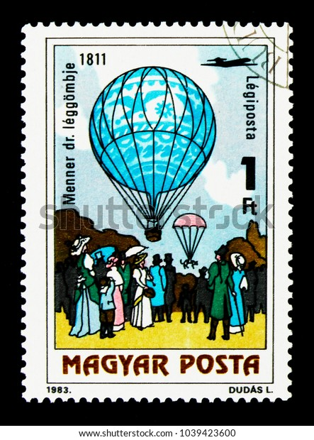MOSCOW, RUSSIA - NOVEMBER 26, 2017: A stamp printed in Hungary shows Doctor Menner's air balloon, 1811, 200 Years of Manned Flight serie, circa 1983