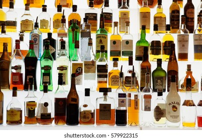 MOSCOW, RUSSIA - NOVEMBER 26: Various alcohol bottles in bar on November 26, 2015 in Moscow, Russian Federation
