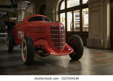 MOSCOW, RUSSIA - NOVEMBER 3, 2013: GAZ GL-1 made in USSR 1930s racing Russian car inside the main Moscow department store known as GUM.