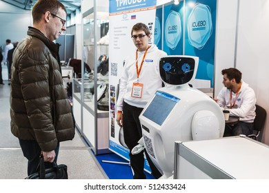 """Moscow, Russia, November 4, 2016: The 4rd International Exhibition of Robotics and advanced technologies """"Robotics Expo"""" in Moscow.Focus on the head robot, soft focus"""