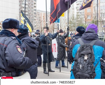 MOSCOW, RUSSIA - NOVEMBER 4, 2017: Russian nationalists March against the President and the government. Held every year