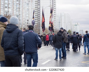 MOSCOW, RUSSIA - NOVEMBER 4, 2018: Russian nationalists March against the President and the government. Held every year