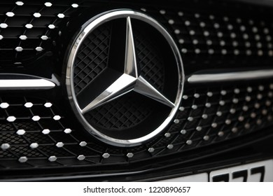 Moscow, Russia - November 4, 2018: Mercedes Benz Logo Close-up On Car Bumper Or Grill. Luxury Automobile Manufacturer, Multinational Division Of German Manufacturer Daimler.