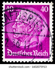 MOSCOW, RUSSIA - NOVEMBER 4, 2019: Postage stamp printed in Germany shows Paul von Hindenburg (1847-1934), 2nd President, in the medallion serie, circa 1934