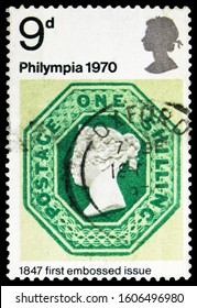 MOSCOW, RUSSIA - NOVEMBER 4, 2019: Postage stamp printed in United Kingdom shows One shilling, Green (1847), Philympia 70 - Stamp Exhibition serie, circa 1970