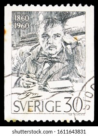 MOSCOW, RUSSIA - NOVEMBER 4, 2019: Postage stamp printed in Sweden shows Anders Zorn (self-portrait), Birth Centenary serie, circa 1960