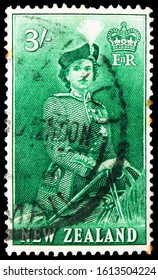 MOSCOW, RUSSIA - NOVEMBER 4, 2019: Postage stamp printed in New Zealand shows Three Shillings, Queen Elizabeth II serie, circa 1954