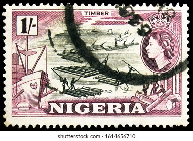 MOSCOW, RUSSIA - NOVEMBER 4, 2019: Postage stamp printed in Nigeria shows Rafts, Country motifs serie, 1 s - Nigerian shilling, circa 1953