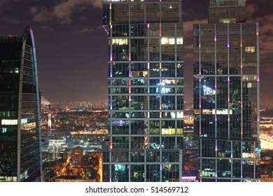 MOSCOW, RUSSIA - NOVEMBER 5: modern skyscrapers of  Moscow City-the biggest business center in capital of Russia on NOVEMBER 5,2016. Offices of different companies and banks are located here.