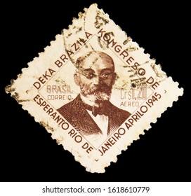 MOSCOW, RUSSIA - NOVEMBER 6, 2019: Postage stamp printed in Brazil shows 10th Brazilian Congress Of Esperanto, Languages serie, circa 1945