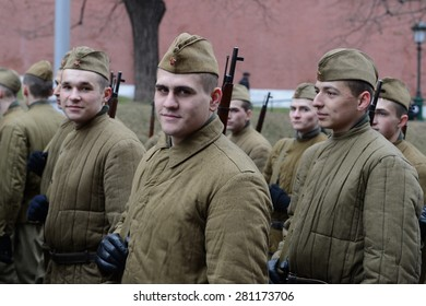 MOSCOW, RUSSIA - NOVEMBER 7, 2014: Russian soldiers prepare to parade in Red Square in Moscow.