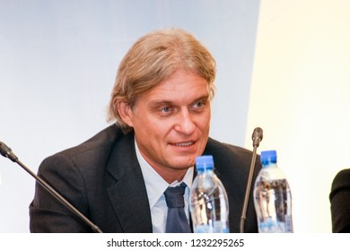MOSCOW, RUSSIA - NOVEMBER 8, 2010: Founder and chairman of the Tinkoff Bank board of directors Oleg Tinkov make speech at SAS company conference on November 8, 2010 in Moscow, Russia.