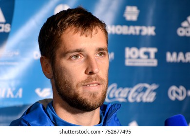 Moscow, Russia - November 9, 2017. Russian international defender Dmitry Kombarov after training session ahead of international friendly Russia vs Argentina in Moscow.