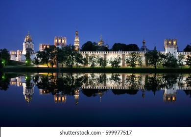 MOSCOW, RUSSIA - NOVODEVICHY CONVENT Magnificent view of the Novodevichy convent at twilight from the local pond. It is one of the most famous and popular sites of Moscow.