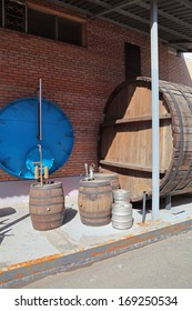 MOSCOW, RUSSIA, OCHAKOVO BREWERY - JUN 13, 2013: The exposition of retro-equipment for brewing. Old barrels for aging beer