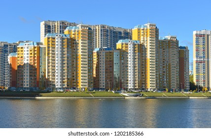 MOSCOW, RUSSIA - OCT 11, 2018: New moderny comfortable residential area of Pavshinsky floodplain on banks of great Moscow River