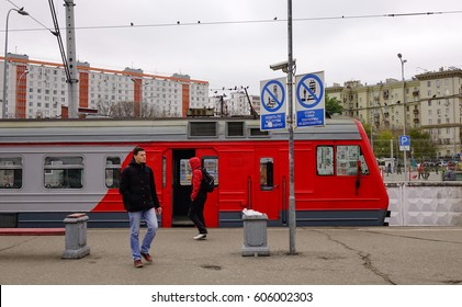 Moscow, Russia - Oct 17, 2016. A train stopping at railway station in Moscow, Russia. Russian Railways, the national rail carrier, is one of the world largest transport companies.