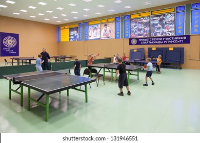 MOSCOW, RUSSIA OCT 23: Childrens competition ping pong in Russian State University of Physical Culture, Sports and Tourism October 23, 2010 in Moscow, Russia.