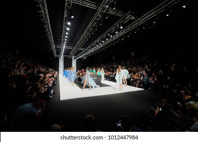 MOSCOW, RUSSIA - OCT 24, 2017: Mercedes Benz Fashion Week Russia spring-summer 2018 day four. Parade of models on catwalk in Manege during performing designer Nikolay Legenda collection.