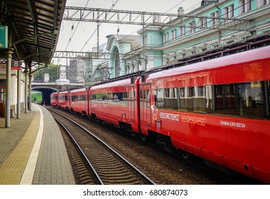 Moscow, Russia - Oct 3, 2016. A red train at the station in Moscow, Russia. Russian Railways, the national rail carrier, is one of the world largest transport companies.