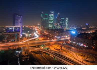 MOSCOW, RUSSIA - OCT 30, 2014: Night view of the city with Mirax-Plaza and Building of Moscow International Business Center (Moscow-City)
