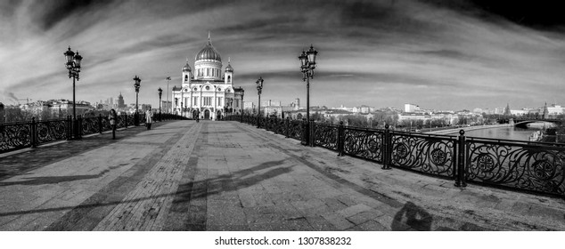 MOSCOW, RUSSIA - OCT 31, 2014: Panoramic view Patriarshy footbridge to Cathedral of Christ the Saviour and Kremlin on Oct 31, 2014 in Moscow, Russia. It is tallest Orthodox Christian church in world.