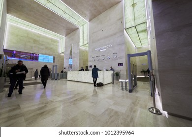 MOSCOW, RUSSIA - OCT 31, 2017: Reception hall of Mercury City Tower of Moscow-City international business complex.