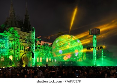 """MOSCOW, RUSSIA - October 01, 2013 Fragment of the breathtaking video projection program of the formation and history of our beautiful planet during fascinating festival """"Circle of Light"""" on Red Square"""