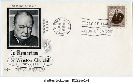 MOSCOW, RUSSIA - OCTOBER 01, 2017: A stamp printed in Canada shows Sir Winston Spencer Churchill (1874-1965), politician, 1965