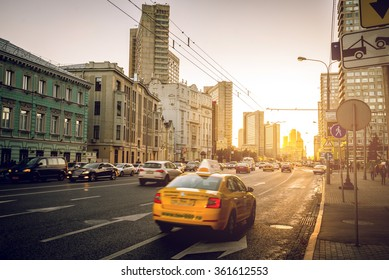 MOSCOW, RUSSIA - OCTOBER 03, 2015: View of urban parts of Moscow city and it's wide streets. Everyday life and transport in Moscow, Russia