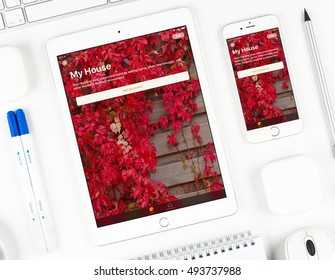 Moscow, Russia - October 04, 2016: Home application on display of iPad and iPhone. With Home app you can securely control all your HomeKit accessories from your iOS device.