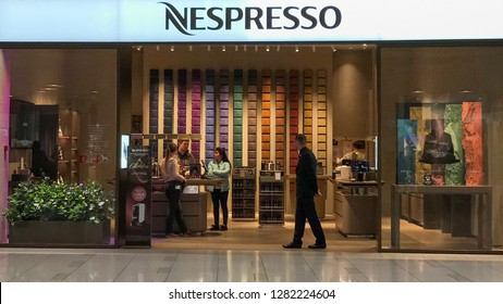 MOSCOW, RUSSIA - OCTOBER 04, 2018: Nespresso Store inside Aviapark Shopping Mall in Moscow, Russia. Nespresso Machines Brew Espresso and Coffee from Coffee Capsules or Pods in Machines for Home or Pro