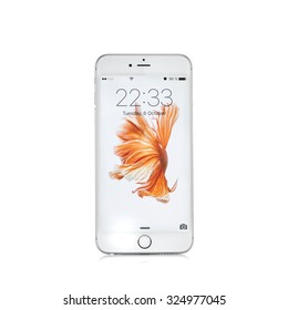 MOSCOW, RUSSIA - OCTOBER 06, 2015: New white iPhone 6 s is a smartphone developed by Apple Inc. Apple releases the new iPhone 6 s and iPhone 6 s Plus