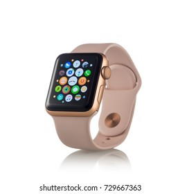 MOSCOW, RUSSIA - OCTOBER 07, 2017: New Apple Watch Series 3 Gold Aluminum Case Pink Sand Sport Band activity app on the display.  Isolated on white background.