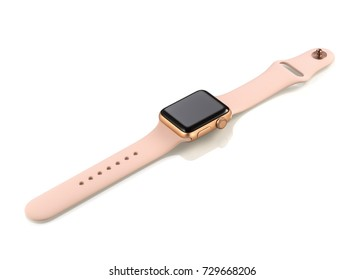 MOSCOW, RUSSIA - OCTOBER 07, 2017: New Apple Watch Series 3 Gold Case Pink Sand Sport Band.  Apple Watch incorporates fitness tracking, health-oriented capabilities, integration with iOS Apple