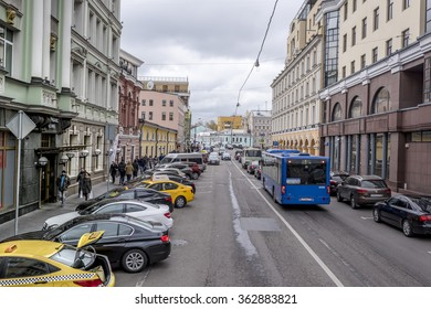 MOSCOW; RUSSIA- OCTOBER 07- Along the streets moving pedestrians and vehicles on October 07; 2015 in Moscow
