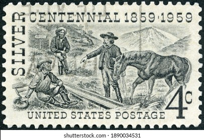 MOSCOW, RUSSIA - OCTOBER 09, 2020: A stamp printed in USA shows Henry Comstock at Mount Davidson Site, Silver Centennial Issue, 1959