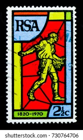 MOSCOW, RUSSIA - OCTOBER 1, 2017: A stamp printed in South Africa shows The sower, 150 year of the south African bible serie, circa 1970