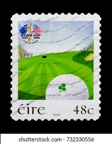 MOSCOW, RUSSIA - OCTOBER 1, 2017: A stamp printed in Ireland shows Ryder Cup 1927-2006 The K Club, Ryder Cup Golf Tournament, Staffan, Co. Kildare (1st issue) serie, circa 2006