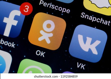 Moscow, Russia -October, 1 2018 The logos of the OK, VK and Facebook applications are displayed on the screen of an Apple iPhone