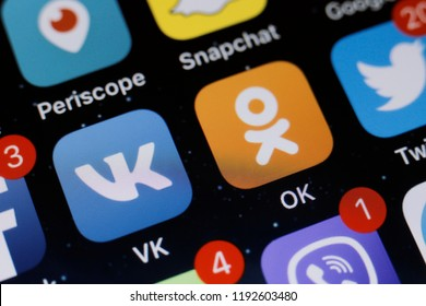 Moscow, Russia -October, 1 2018 The logos of the OK and VK applications are displayed on the screen of an Apple iPhone